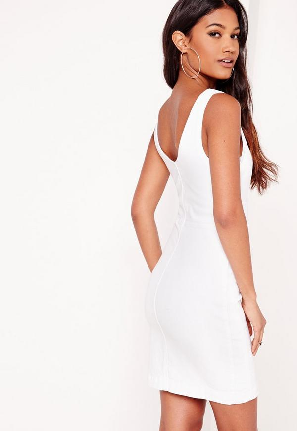 Fitted Denim Dress White | Missguided