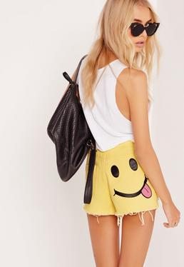 Smiley Face Denim Shorts Yellow
