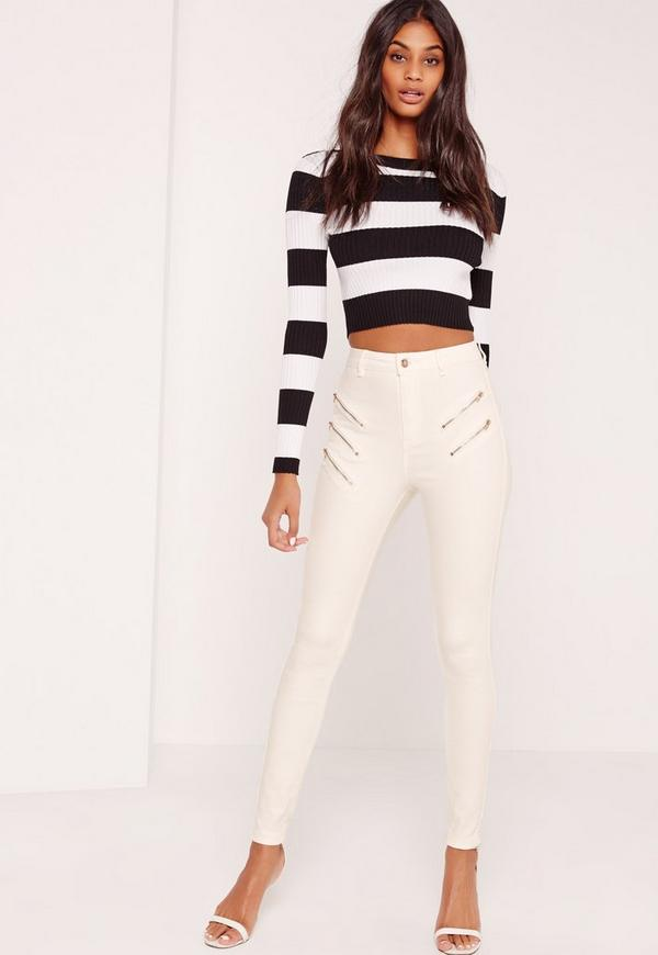 Vice Multi Zip Thigh Skinny Jeans White