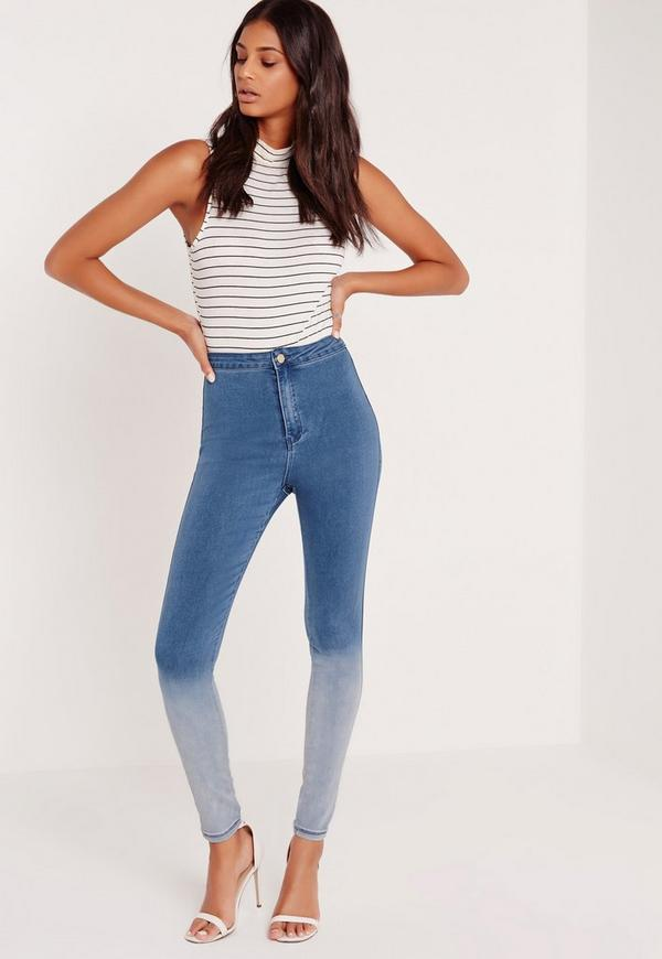 Ombre Vice High Waisted Skinny Jeans Indigo Blue