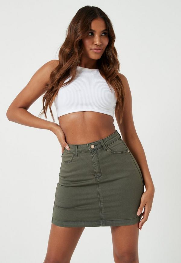 Khaki Superstretch Denim Mini Skirt   Missguided
