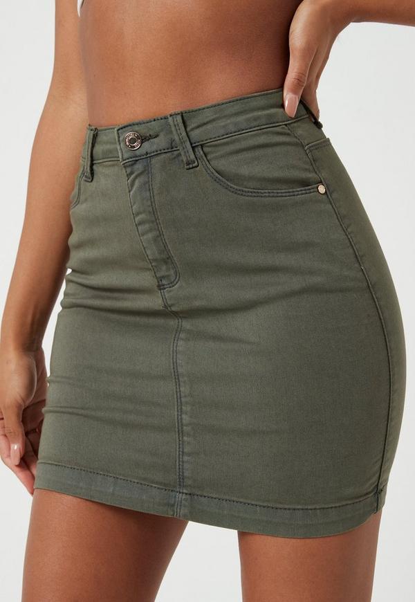 Khaki Superstretch Denim Mini Skirt Missguided Australia