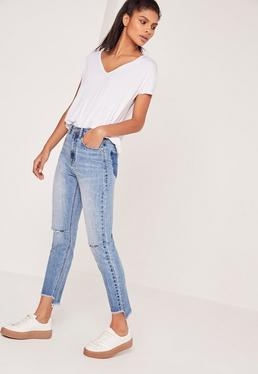 Riot High Rise Stepped Hem Jeans Stonewash Blue