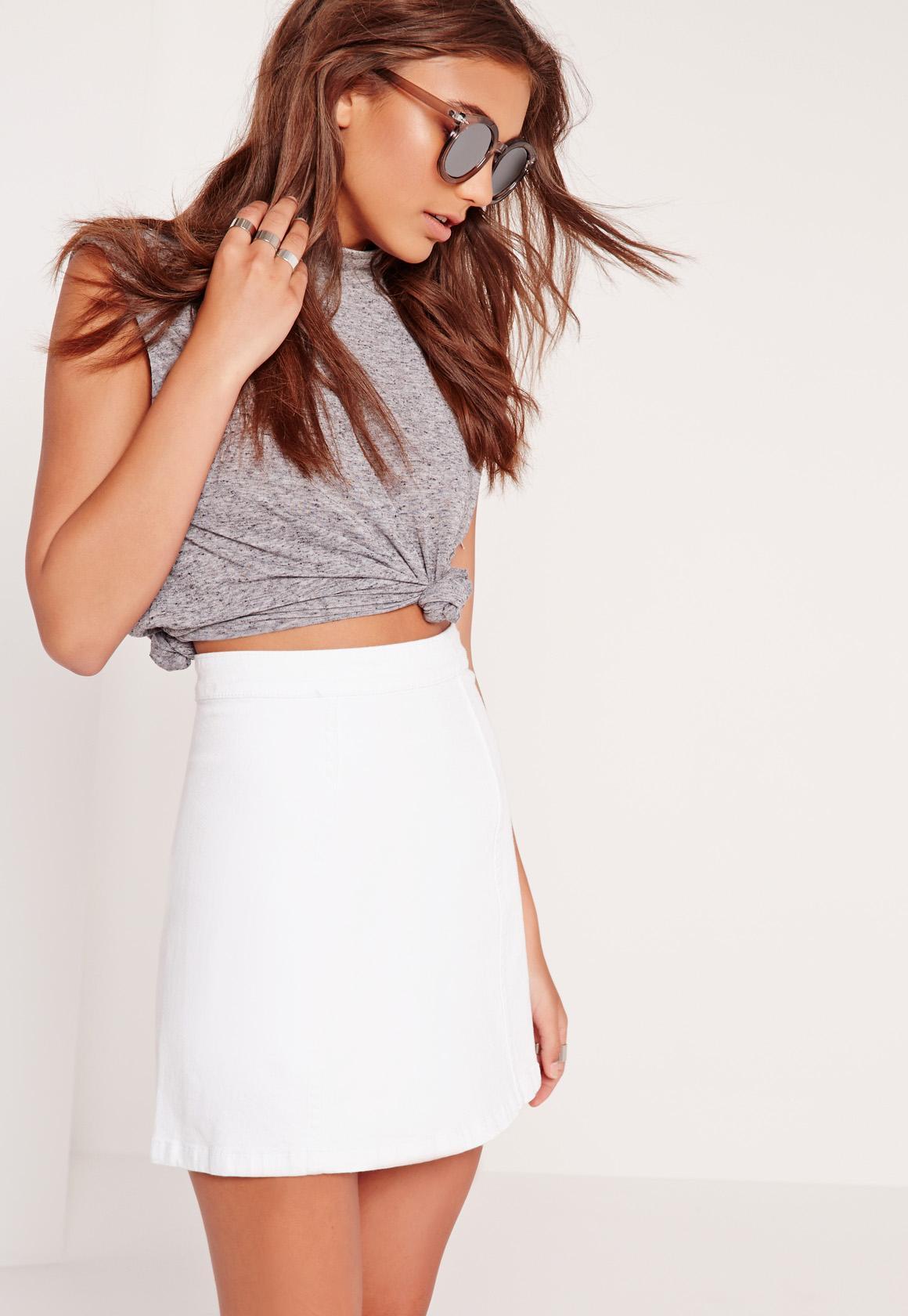 A-Line Super Stretch Denim Mini Skirt White | Missguided Australia