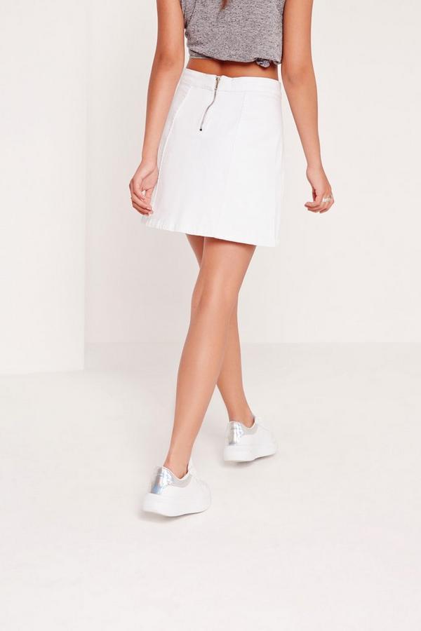 a line stretch denim mini skirt white missguided