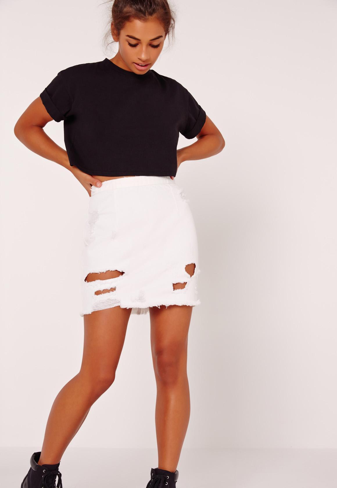 Destroyed Ripped Denim Mini Skirt White | Missguided