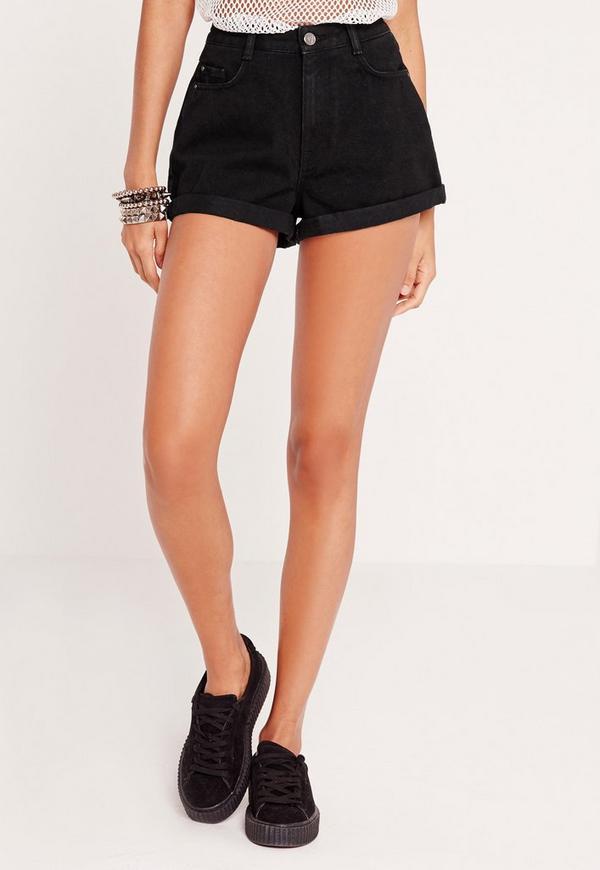 Riot High Rise Denim Shorts Black | Missguided