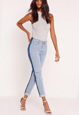 Riot High Rise Contrast Jeans Blue