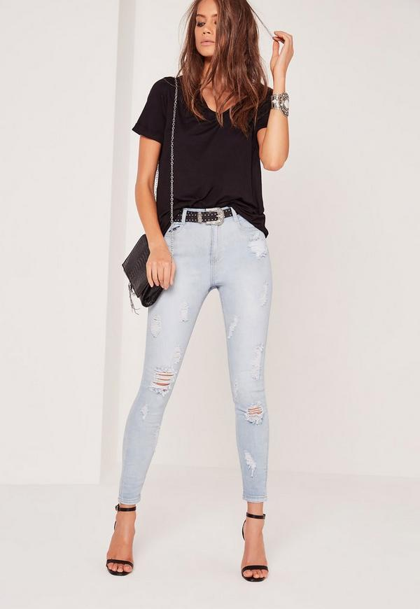 Sinner High Waisted Multi Ripped Skinny Jeans Bleach Blue