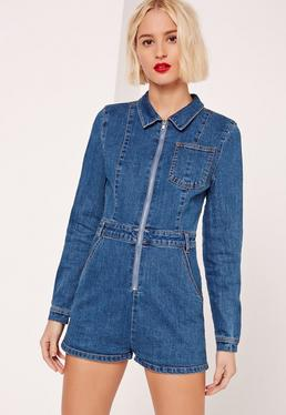 Zip Front Denim Romper Vintage Blue