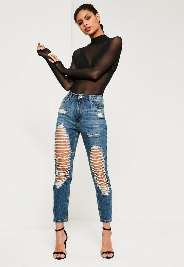 Riot High Rise Open Slim Leg Cropped Jeans Marbled Blue