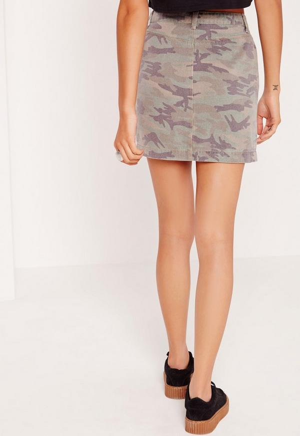 Camo Denim Skirt Khaki | Missguided