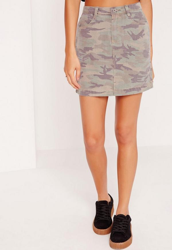 Camo Denim Skirt Khaki - Missguided