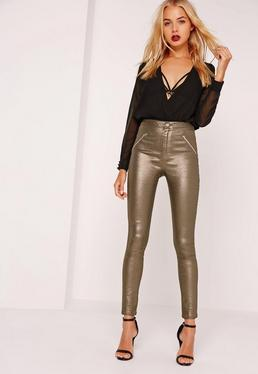 Vice Superstretch High Rise Zipped Skinny Jeans Metallic
