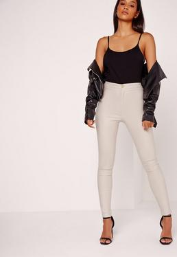 Vice High Waisted Coated Skinny Jeans Nude