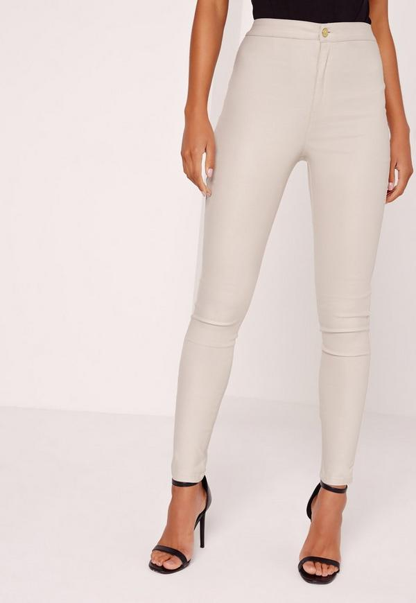 Vice High Waisted Coated Skinny Jeans Nude | Missguided