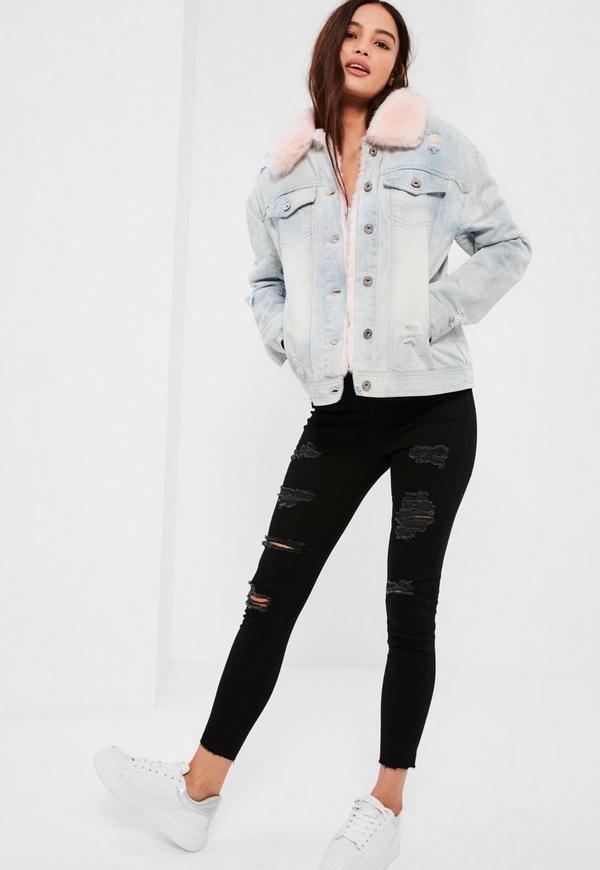 Faux Fur Lined Denim Jacket Blue Missguided