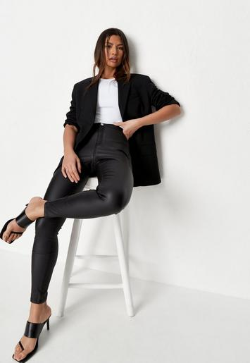 world-wide free shipping newest top brands Missguided - Black Vice High Waisted Coated Skinny Jeans