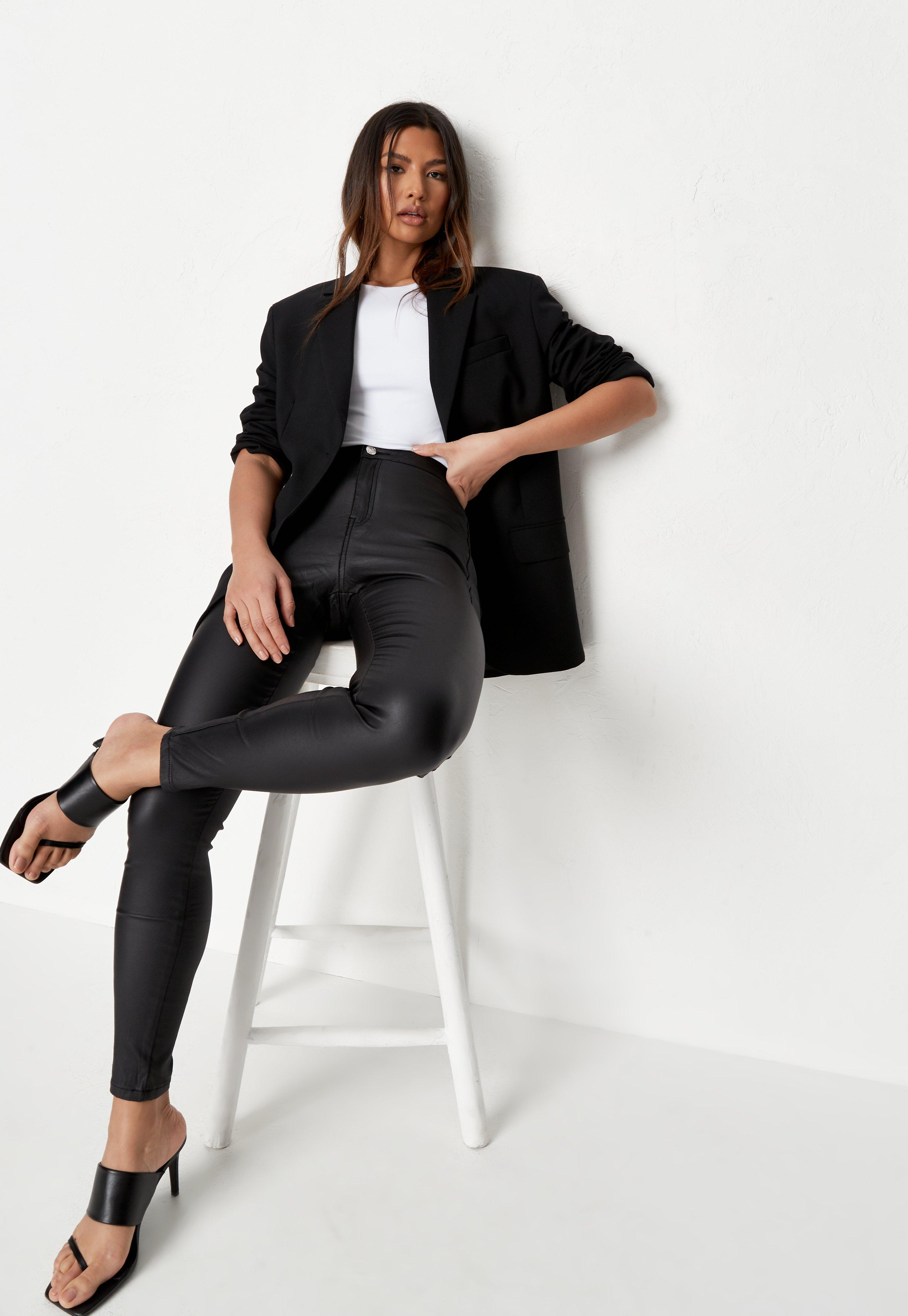 neuer Stil von 2019 der Verkauf von Schuhen günstig Tall Beschichtete Vice-Skinny-Jeans mit hohem Bund in Schwarz