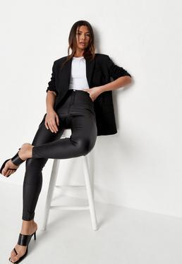 Vice – Beschichtete High-Waist-Skinny-Jeans in Schwarz