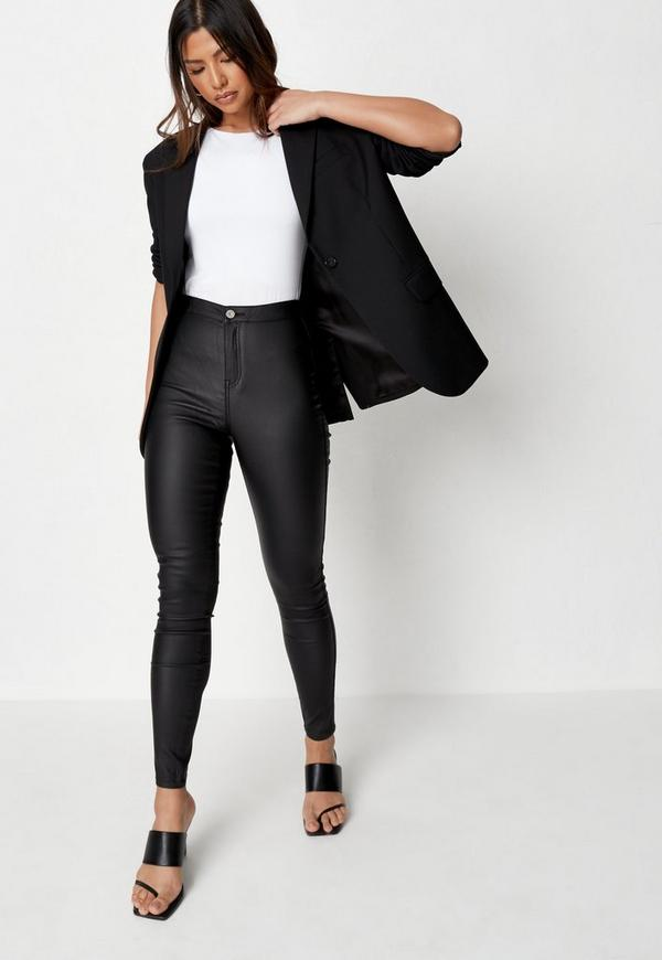Vice High Waisted Coated Skinny Jeans Black| Missguided