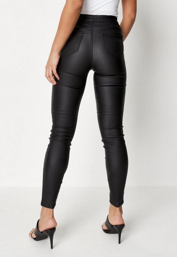 b56fd31bf8d Black Vice High Waisted Coated Skinny Jeans. Previous Next