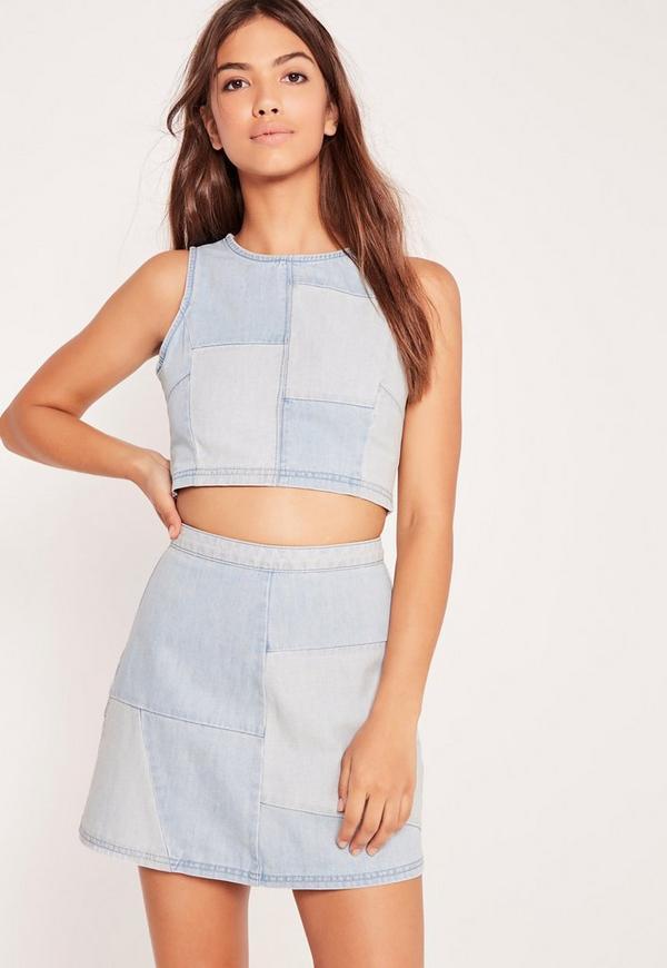 Patchwork Denim Mini Skirt Blue