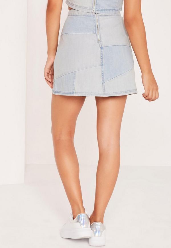 patchwork denim mini skirt blue missguided