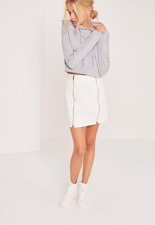 Multi Zip Mini Denim Skirt White