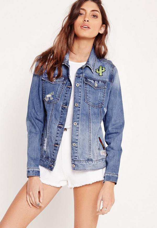 Ripped Denim Badge Jacket Stonewash Blue - Missguided