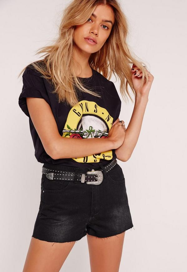 Sinner High Waisted Raw Hem Shorts Black