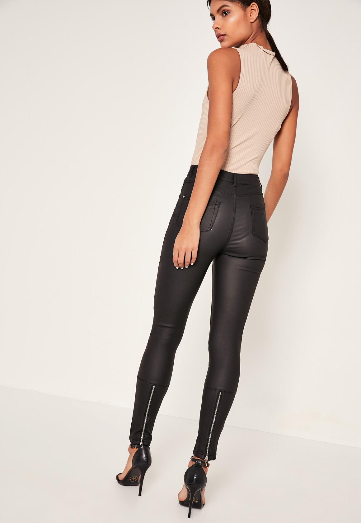 Black Vice High Waisted Coated Ankle Zip Skinny Jeans| Missguided