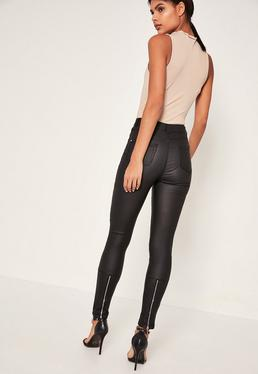 Black Vice High Waisted Coated Ankle Zip Skinny Jeans