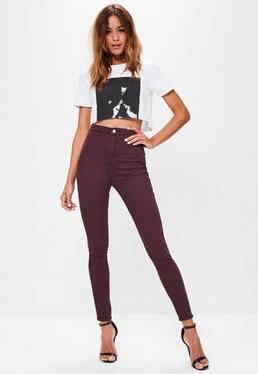 Hüfthohe Skinny-Jeans in Burgunder-Rot