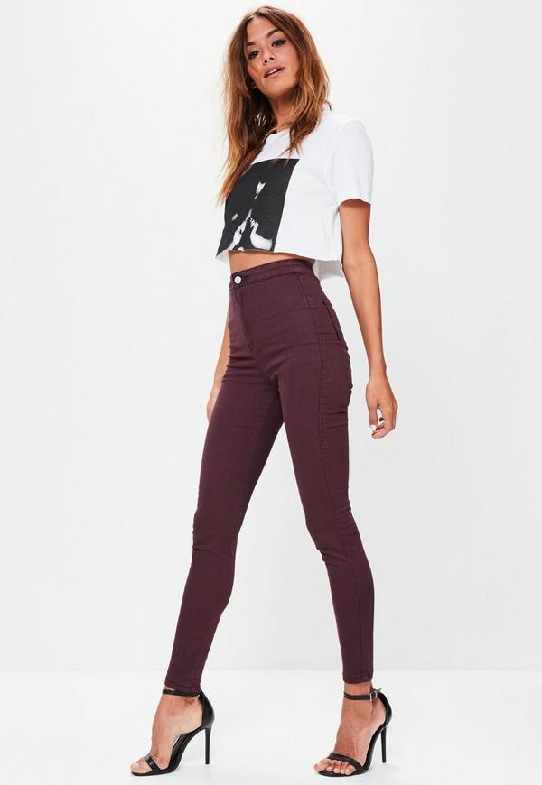 caroline receveur burgundy high waisted skinny jeans missguided. Black Bedroom Furniture Sets. Home Design Ideas