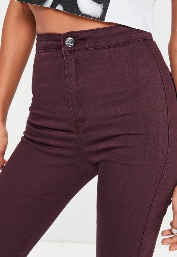 Burgundy High Waisted Skinny Jeans - Missguided