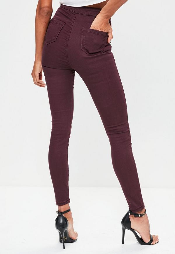 Previous Next - Burgundy High Waisted Skinny Jeans Missguided