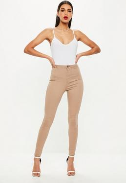 Jean skinny taille haute Vice couleur camel