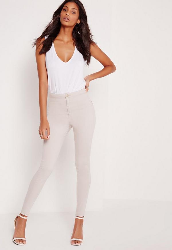 Vice High Waisted Skinny Jeans Soft Stone