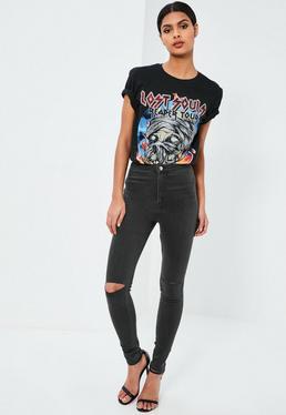 Vice High Waisted Slash Knee Skinny Jeans Green