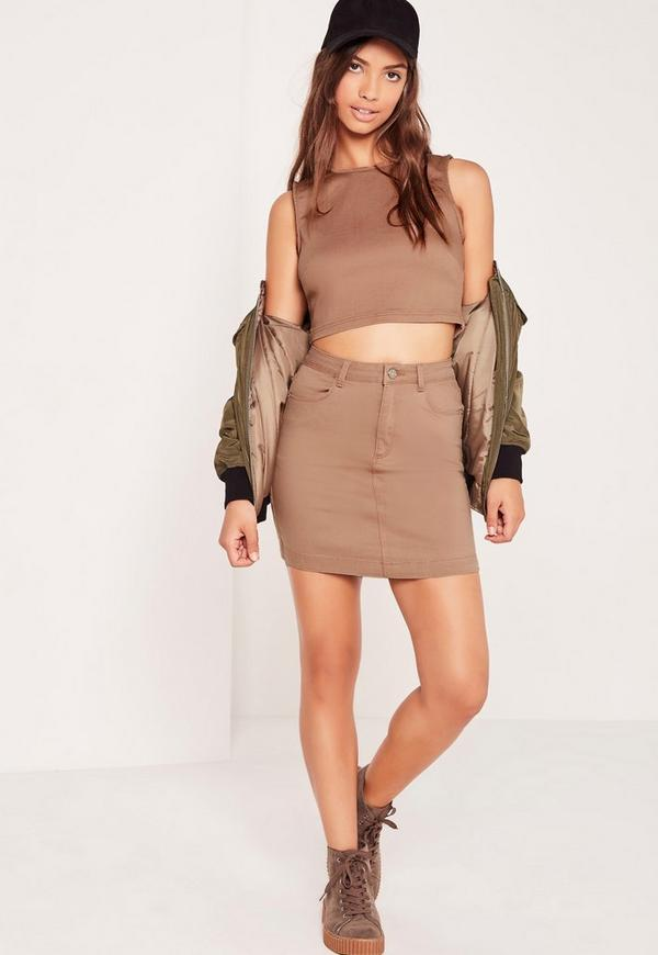 Superstretch Denim Mini Skirt Nude