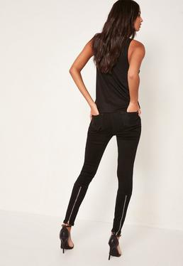 Black Vice Highwaisted Ankle Zip Skinny Jeans