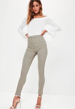 Jean skinny taille haute vert kaki Vice