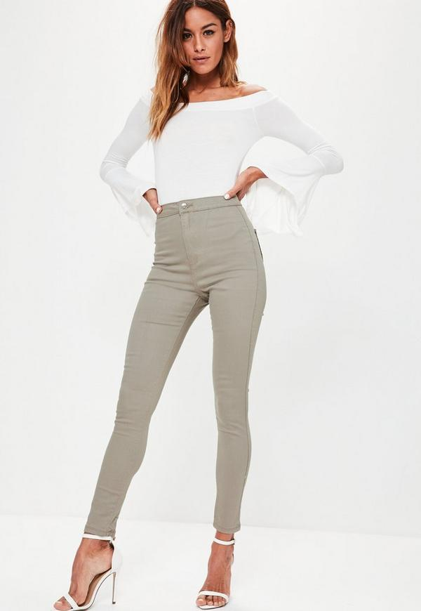 Khaki Vice High Waisted Skinny Jeans