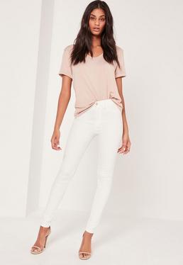 Jean blanc taille moyenne Hustler