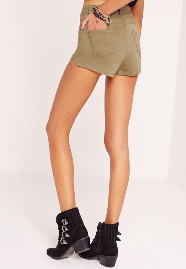 Vice High Waisted Denim Shorts Soft Khaki | Missguided