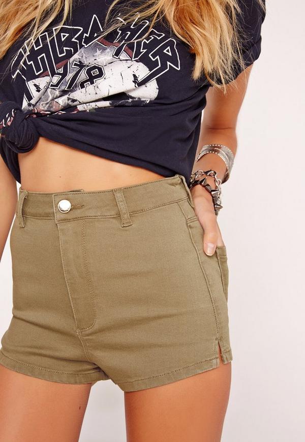 Vice High Waisted Denim Shorts Soft Khaki | Missguided