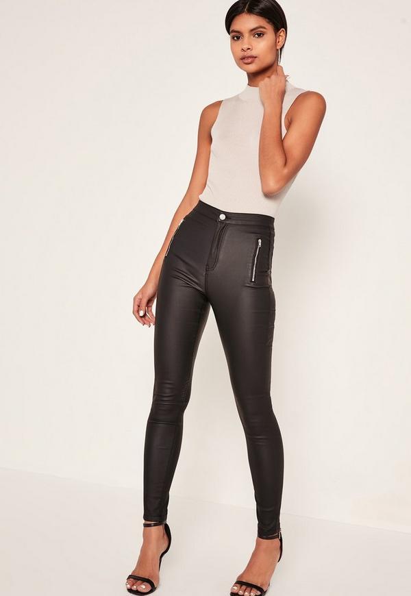 Black Vice High Waisted Coated Zipped Skinny Jeans