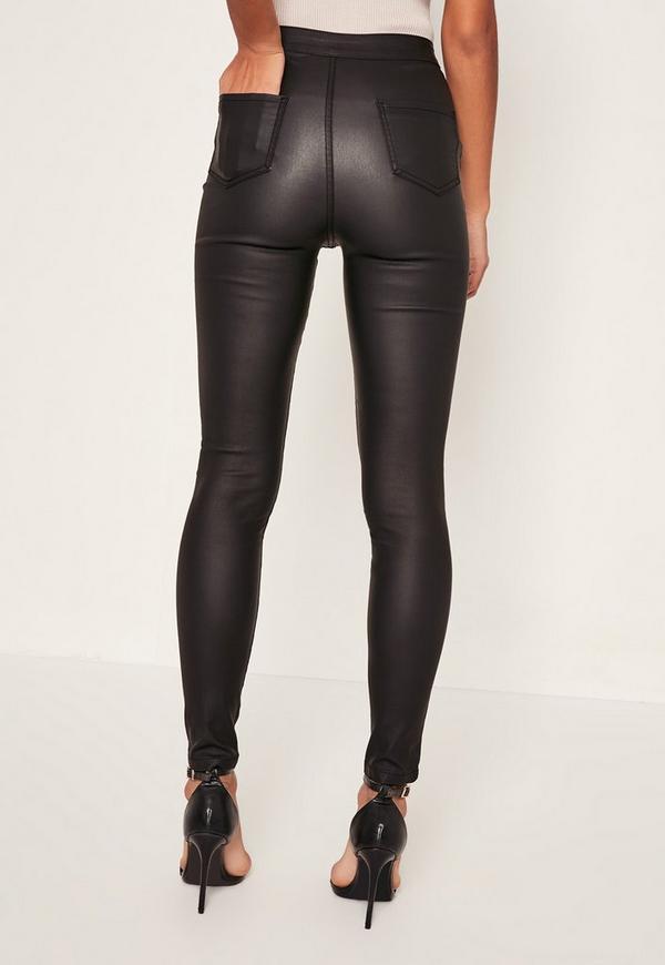 vice beschichtete high waist skinny jeans mit. Black Bedroom Furniture Sets. Home Design Ideas