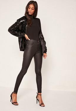 Hustler – Beschichtete Mid-Rise-Skinny-Jeans in Schwarz